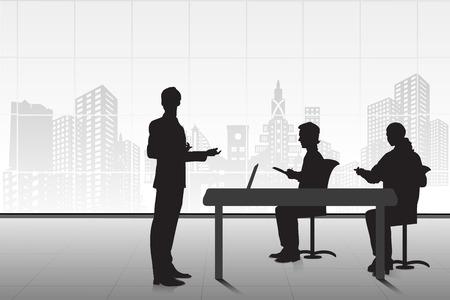 corporate training: easy to edit vector illustration of businessman giving presentation Illustration