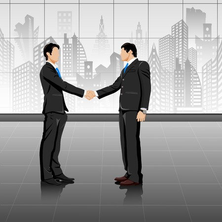 easy to edit vector illustration of young businessman doing handshake