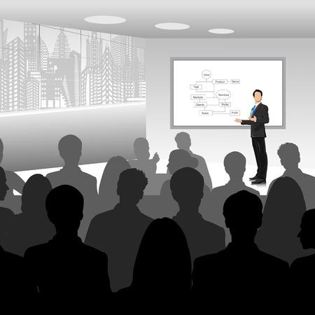 corporativo: fácil de editar ilustración vectorial de hombre de negocios que da la presentación Vectores