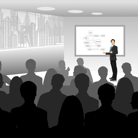 easy to edit vector illustration of businessman giving presentation Vettoriali