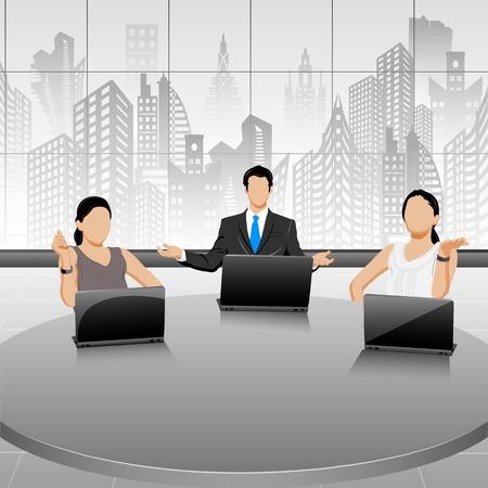 hombres ejecutivos: fácil de editar ilustración vectorial de los hombres de negocios durante una reunión sentado alrededor de una mesa