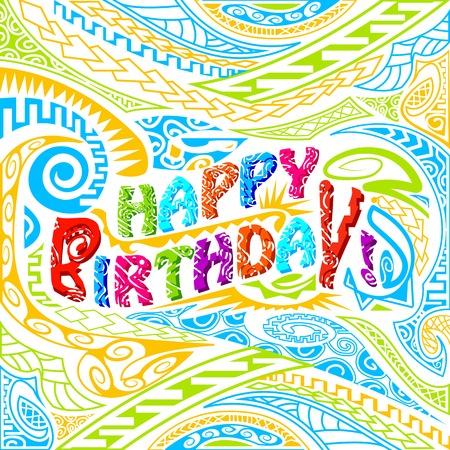easy to edit vector illustration of tiki style Happy Birthday typography Vector