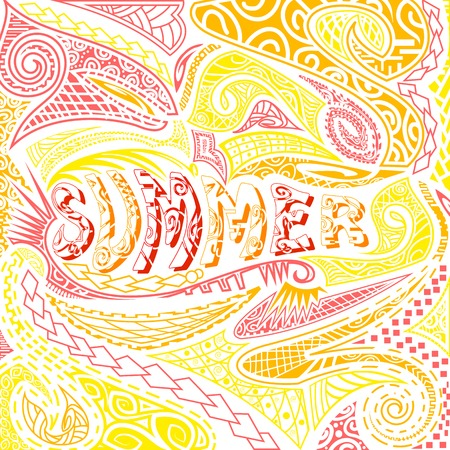 easy to edit vector illustration of tiki style Summer typography Vector