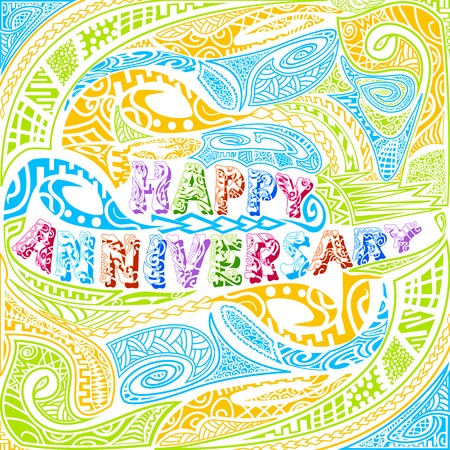 easy to edit vector illustration of tiki style Happy Anniversary typography Vector