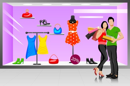 easy to edit vector illustration of Happy young couple shopping Vector