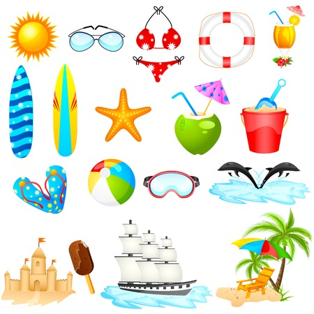 easy to edit vector illustration of Beach Icon Set Vector