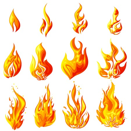 fire: illustration of fire flame collection