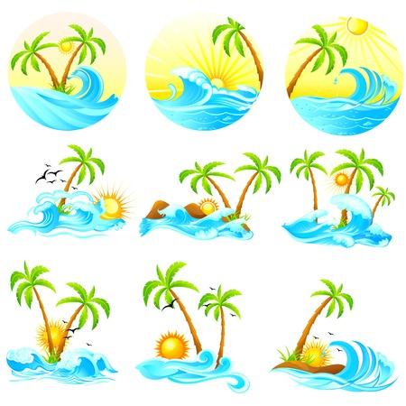 ヤシの木と波のイラスト