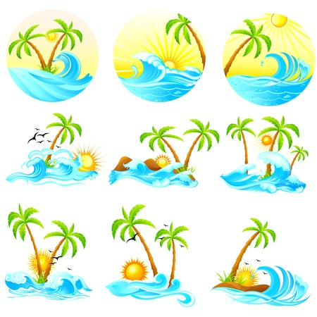 illustration of waves with palm tree Vectores
