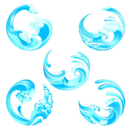 illustration of waves collection Vector