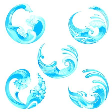illustration of waves collection Illustration