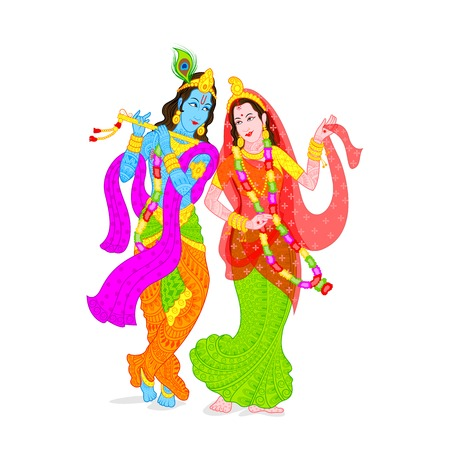 illustration of Lord Krishna and Radha Vector