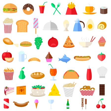 continental: illustration of food icons