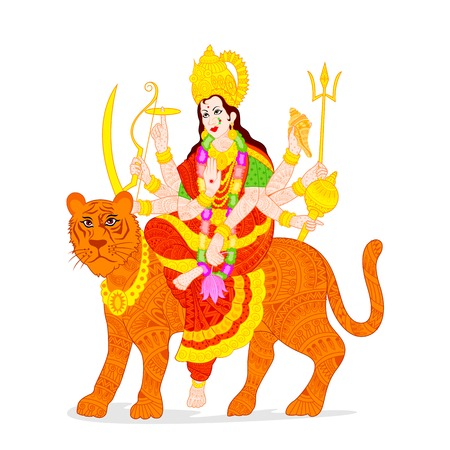 devi: illustration of Goddess Durga Illustration