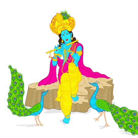 illustration of Lord Krishna Vector