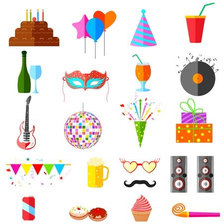 christmas cake: illustration of party icons Illustration