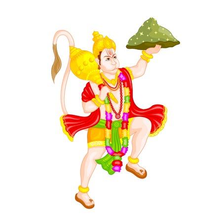 hanuman: easy to edit vector illustration of Lord Hanuman in floral design Illustration