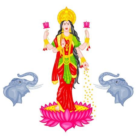 easy to edit vector illustration of Goddess Lakshmi Vector