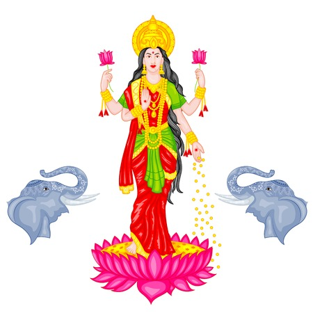 devi: easy to edit vector illustration of Goddess Lakshmi Illustration