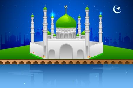 ramzan: easy to edit vector illustration of decorated mosque on Eid Mubarak (Happy Eid) Illustration