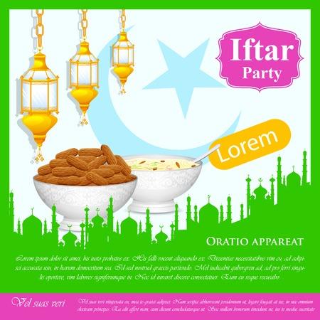 рамадан: легко редактировать векторные иллюстрации ифтар Партии фон