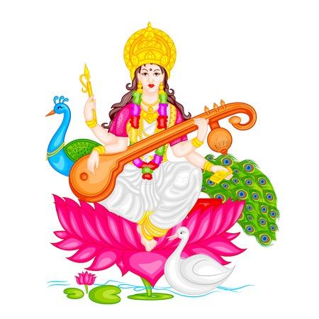 hindu goddess: easy to edit vector illustration of Goddess Saraswati