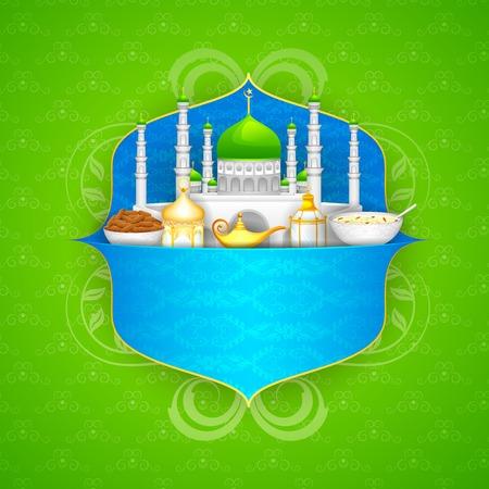 iftar: easy to edit vector illustration of decorated mosque on Eid Mubarak (Happy Eid) Illustration