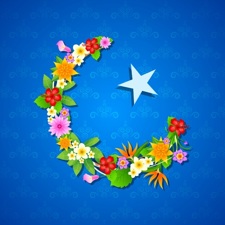 easy to edit vector illustration of floral crescent moon of Eid Vector