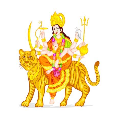 easy to edit vector illustration of Goddess Durga Vector