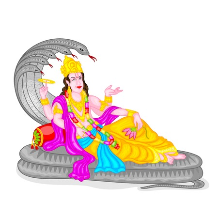 mahabharata: easy to edit vector illustration of Lord Vishnu