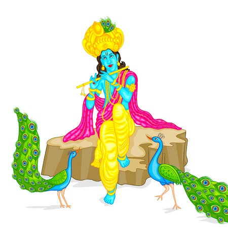 easy to edit vector illustration of Lord Krishna Vector