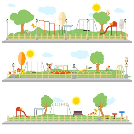 fence park: easy to edit vector illustration of park scene