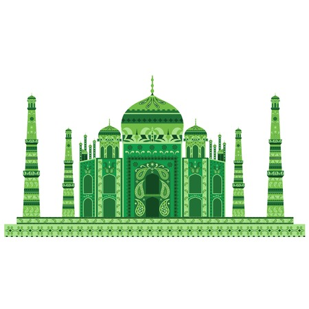 taj: easy to edit vector illustration of Taj Mahal with floral design