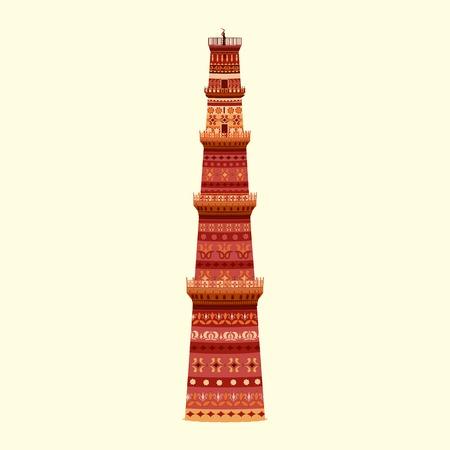 qutub minar: easy to edit vector illustration of Qutub Minar in floral design