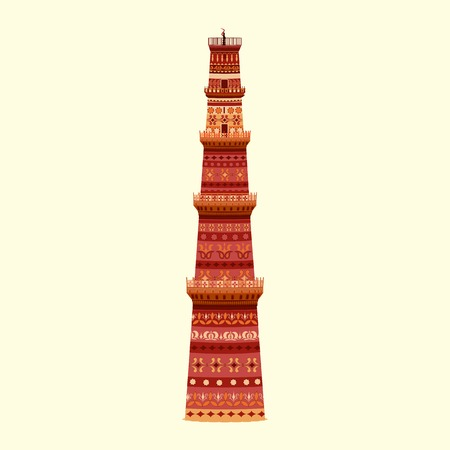 easy to edit vector illustration of Qutub Minar in floral design
