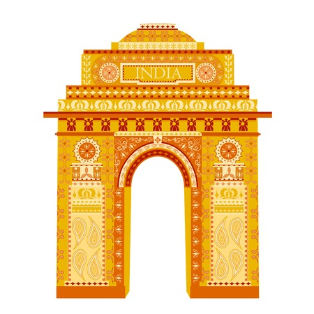 easy to edit vector illustration of India Gate in floral design  イラスト・ベクター素材