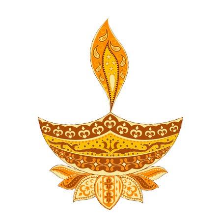 easy to edit vector illustration of Diwali diya  in floral design Illustration