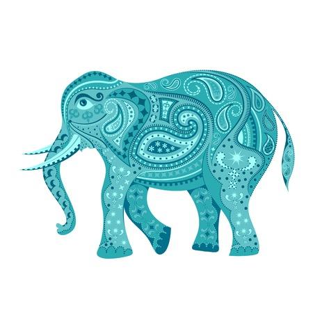 royal safari: easy to edit vector illustration of elephant  in floral design