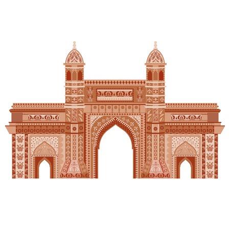 india city: facile da modificare illustrazione vettoriale di Gateway of India a disegno floreale