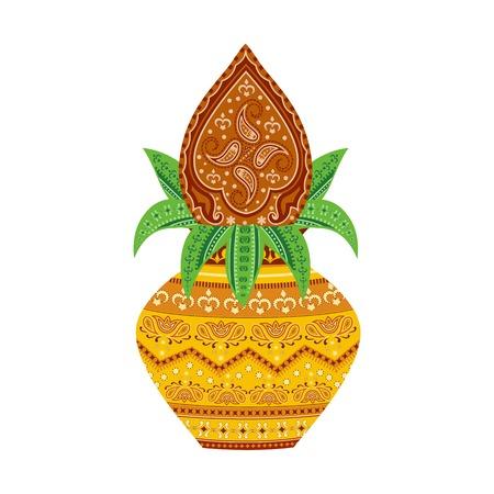 easy to edit vector illustration of kalash  in floral design  イラスト・ベクター素材
