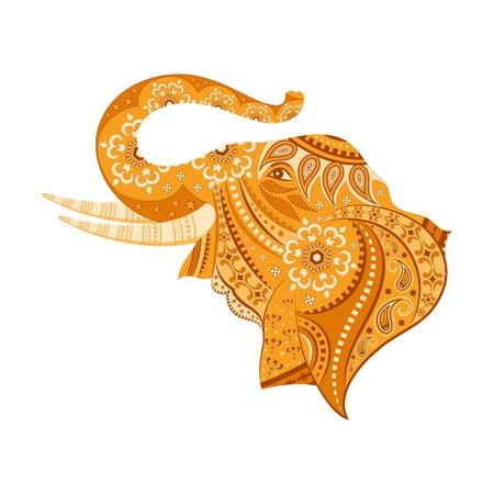 asian culture: facile da modificare illustrazione vettoriale di elefante in disegno floreale