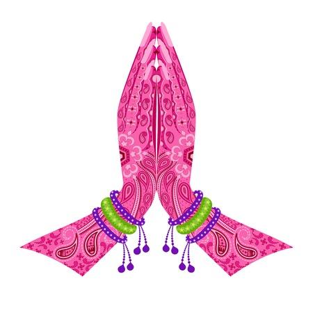 簡単に花柄のデザインでナマステの姿勢を迎えるにあたってインド手のベクトル図を編集するには