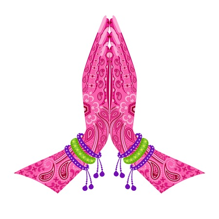 namaste: f�cil de editar ilustraci�n vectorial de la India de la mano a modo de saludo postura de namaste en el dise�o floral