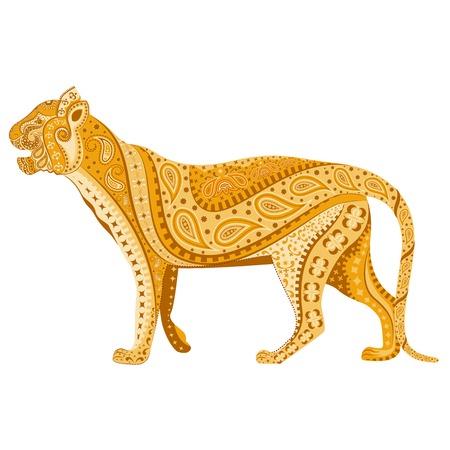 royal safari: easy to edit vector illustration of Indian Tiger  in floral design