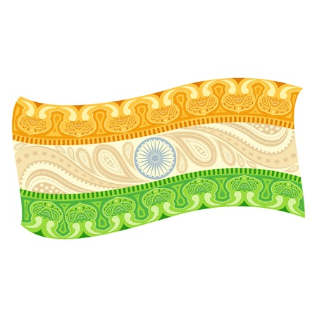 bharat: easy to edit vector illustration of Indian Flag in floral design Illustration