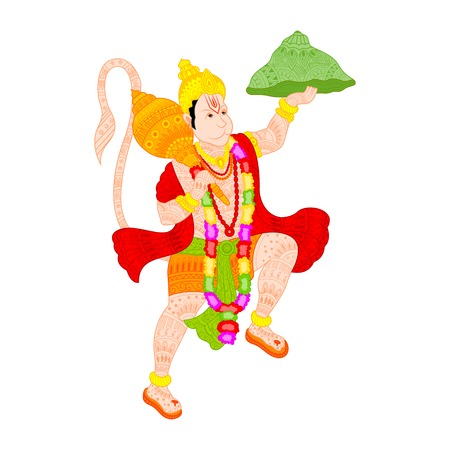 ramayan: easy to edit vector illustration of Lord Hanuman in floral design Illustration