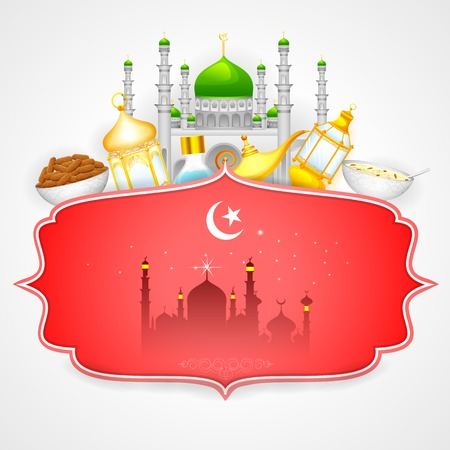 Decorated mosque on Eid Mubarak  Happy Eid  Vector