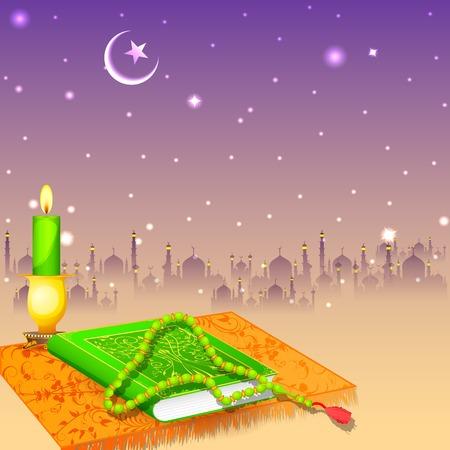muslim prayer: Koran in Happy Eid background