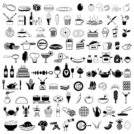 illustration of food: Los iconos de los alimentos