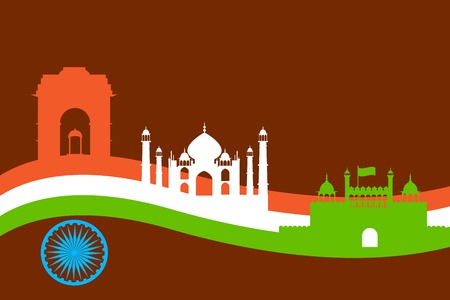 India background with Monument and Building Vector